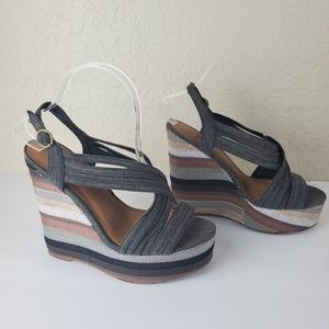 Shi by Journeys Striped Platforms Wedges Size 8